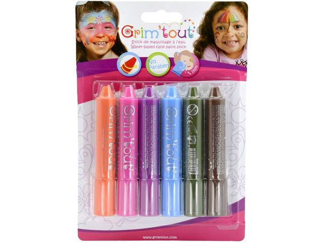Blister 6 sticks de maquillage Couleurs arc en ciel GRIM'TOUT