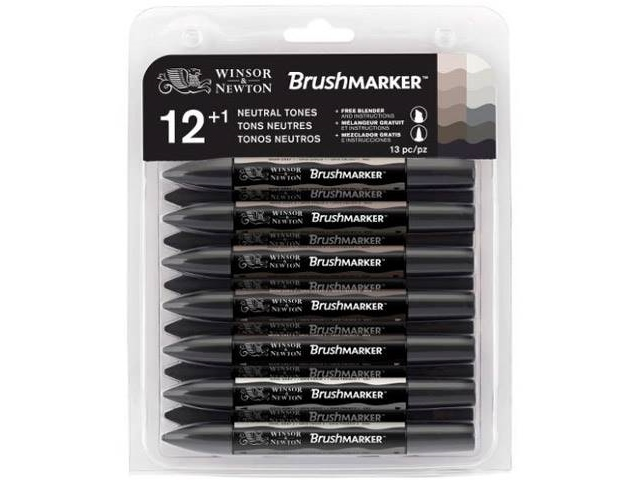 Assortiment 12 Brushmarker Gris