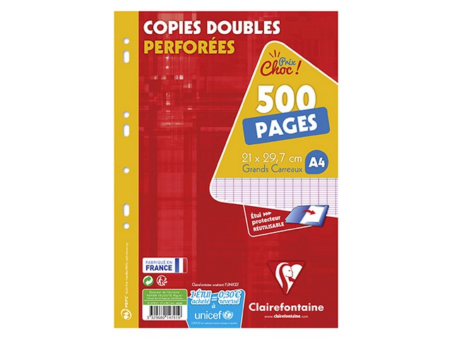 500 Copies Doubles Perforées 21X29,7 cm Seyes
