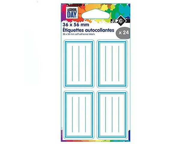 Sachet de 24 Etiquettes Adhesives Ecoliers 36 X 56 Mm Bleues