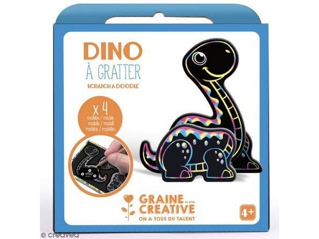 Boite 4 Cartes à Gratter 3D assorties Design Dino