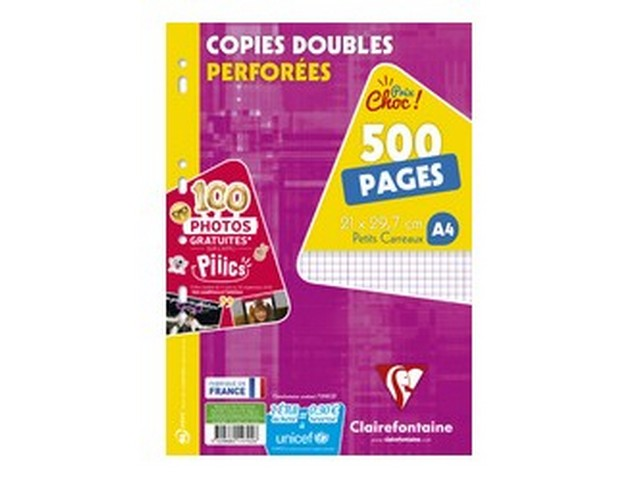 300 Copies Doubles Perforées + 200 Gratuites - 90G