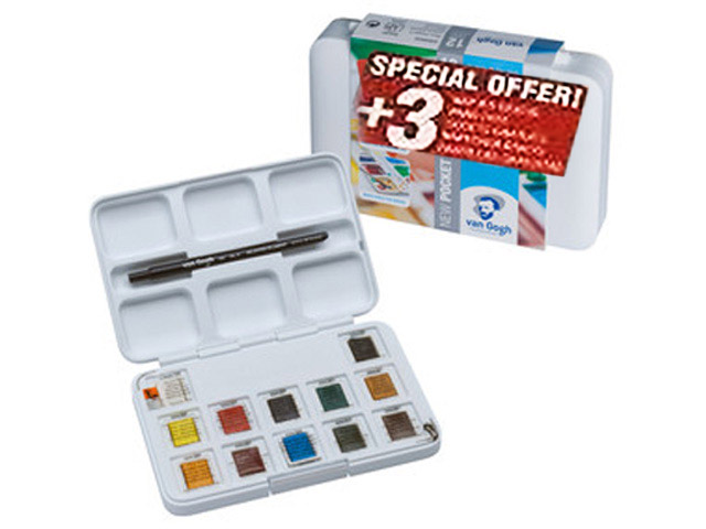 Pocket Box Aquarelle Van-Gogh 12 1/2 godets + 3 Gratuits