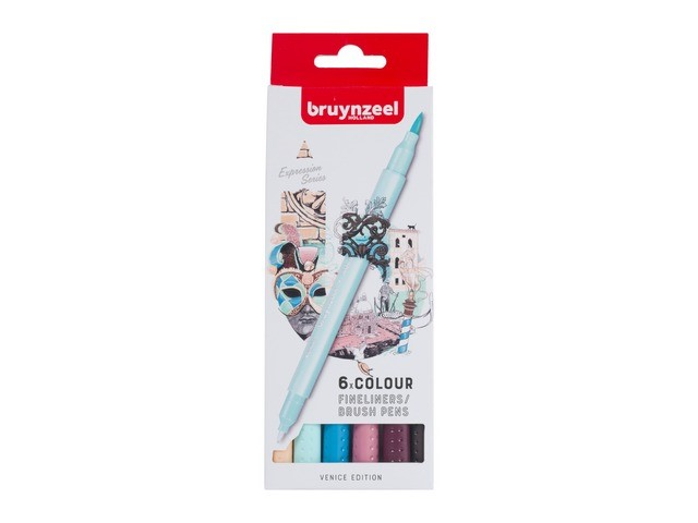 Set de 6 Fineliners double pointes Bruynzeel VENICE