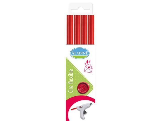 PACK 4 BATONS CIRE FLEXIBLE RONDS ROUGE