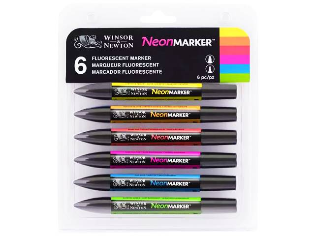Assortiment Neonmarker 6 marqueurs fluorescents