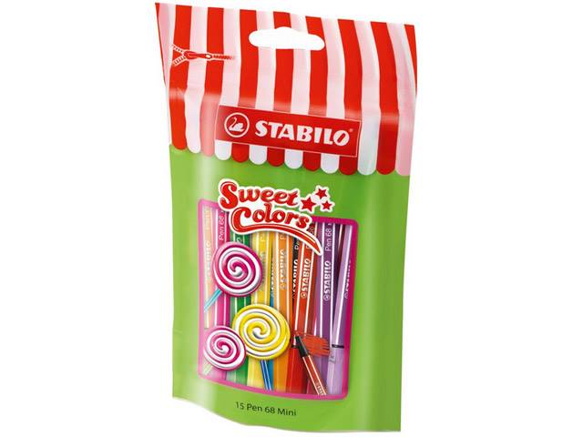 Sachet Sweet Colors de 15 Feutres PEN 68 mini STABILO