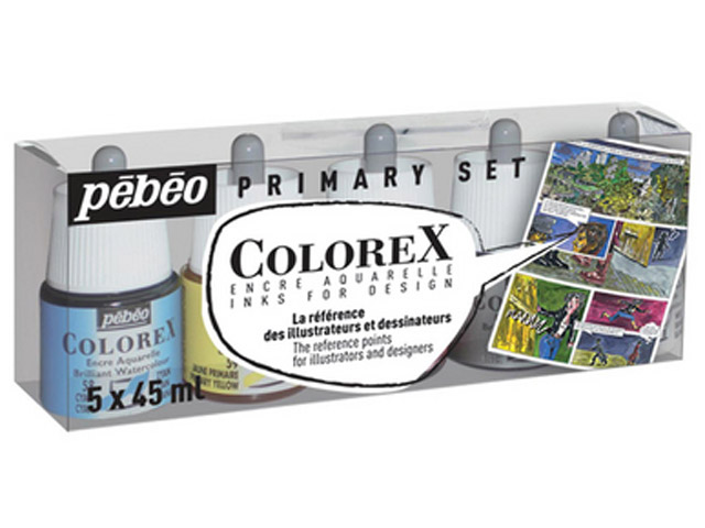 Encre Colorex set de 5 x 45ml Pébéo