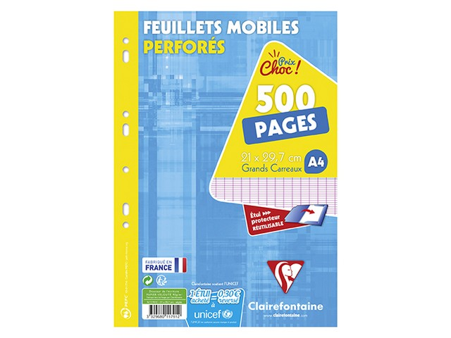 Feuilles Mobiles Perforées A4 500 Pages Grands Carreaux