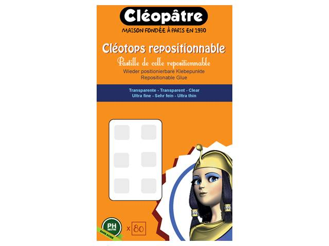 Cléotops Pastille Double Face Repositionnable 80 Pastilles de 8 mm