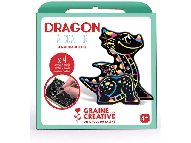 Boite 4 Cartes à Gratter 3D assorties Design Dragon
