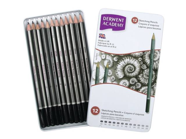 Boite Metal 12 Crayons Academy Graphite