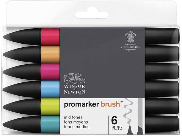 Assortiment 6 Promarkers Brush Marker Tons Moyens
