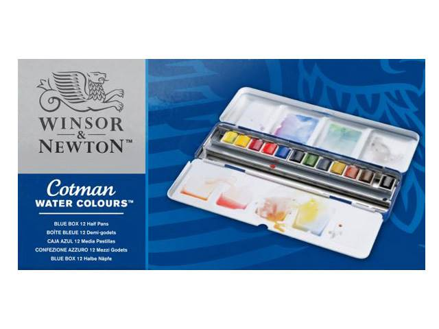 Boite Aquarelle Fine Blue Box Cotman Wn 12 Demi Godets