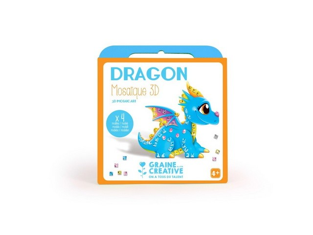 Boite 4 Cartes Mosaique 3D assorties Design Dragon