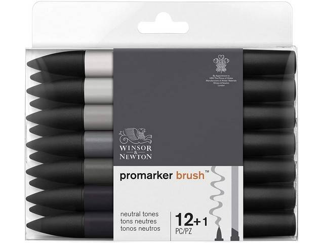 Assortiment 12 Promarkers Brush Marker Tons Neutres
