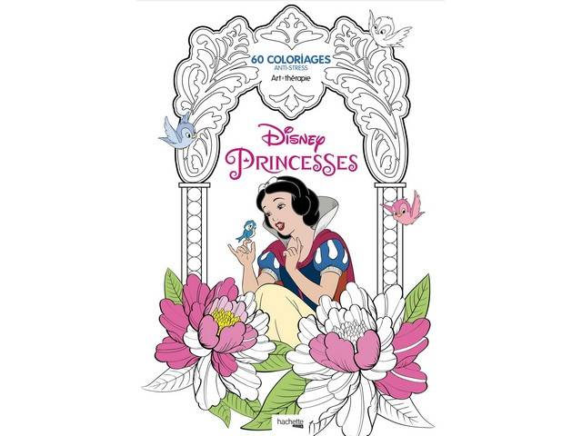 Bloc 60 coloriages Anti Stress Princesses DISNEY