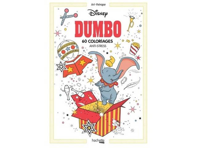Bloc 60 coloriages anti stress Dumbo Disney