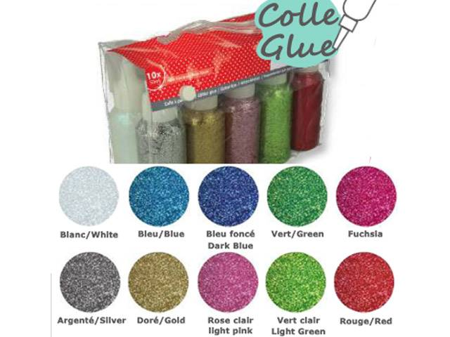 Set Colle Paillettes 10X50ml