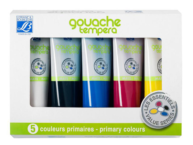 SET DE GOUACHE TEMPERA 5X120ML Lefranc et Bourgeois