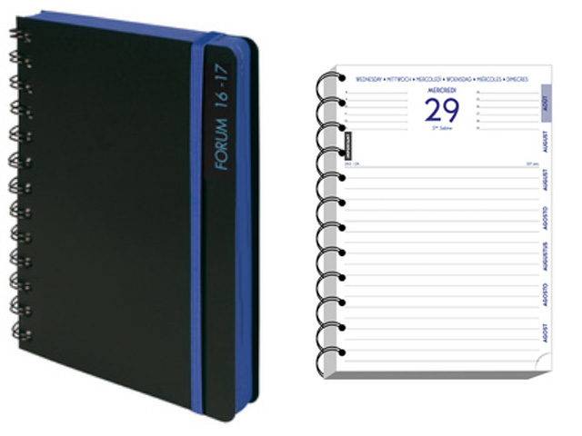 AGENDA JOURNALIER 17X12 cm SPIRALE METAL BLACK & COLOR