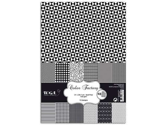 COLOR FACTORY A4 48 FEUILLES NOIR & BLANC