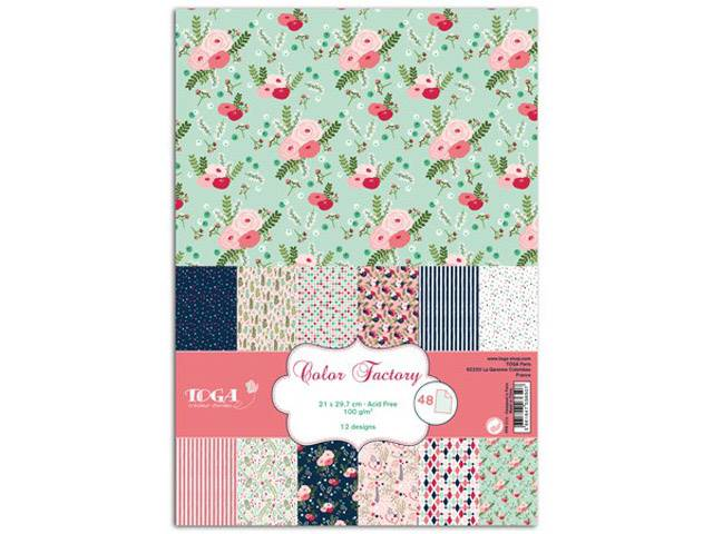 COLOR FACTORY A4 48 FEUILLES LOVELY FLOWERS