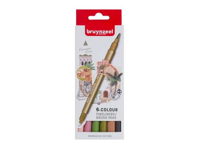 Set de 6 Fineliners double pointes Bruynzeel MARRAKESH