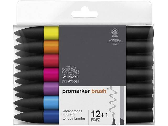 Assortiment 12 Promarkers Brush Marker Tons Vibrants + blender