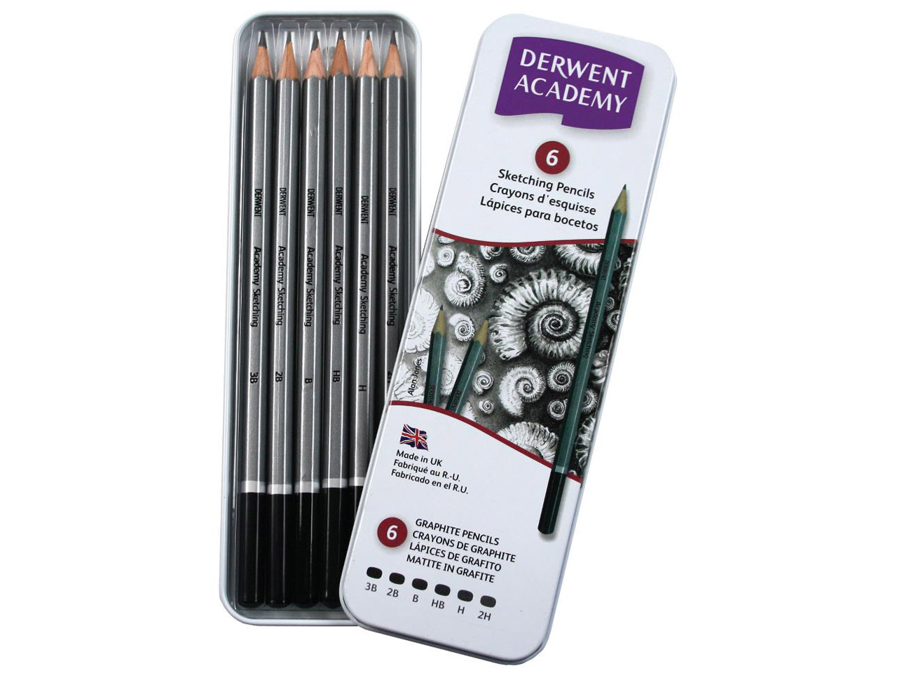 Boite Metal 6 Crayons Academy Graphite