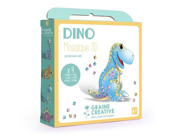 Boite 4 Cartes Mosaique 3D assorties Design Dino