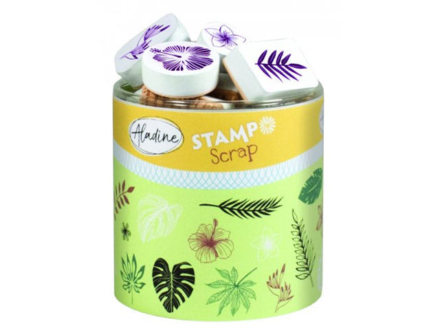 Stampo Scrap Jungle et Feuilles tropicales - 29 tampons Aladine