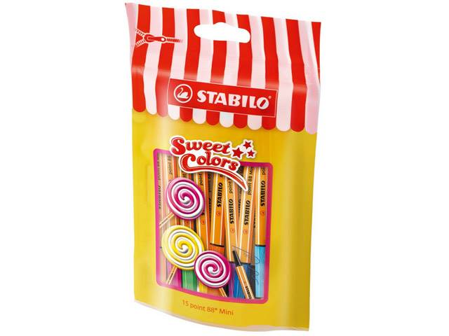 Sachet Sweet Colors de 15 Feutres POINT 88 mini STABILO