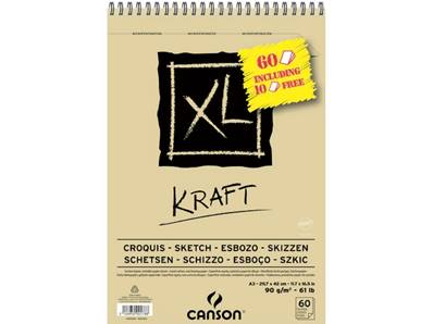 Album XL Kraft A3 90 gr 60 feuilles dont 10 offertes