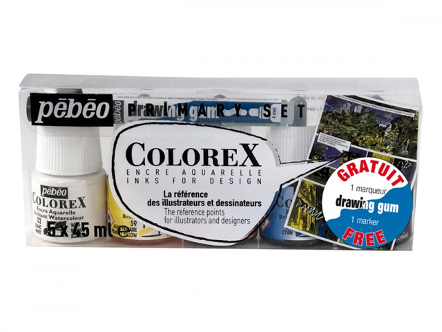 Encre Colorex set de 5 x 45ml + 1 drawing gum Pébéo