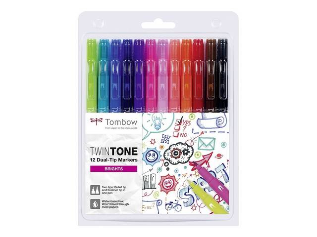 12 feutres couleurs vives TWIN TONE TOMBOW