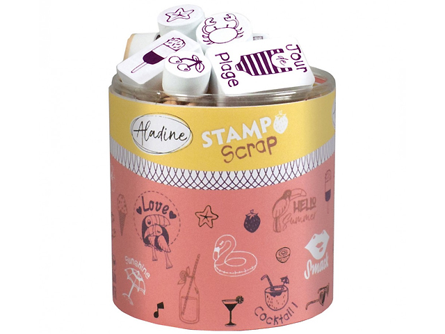 Stampo Scrap Love Summer - 36 tampons Plage Aladine