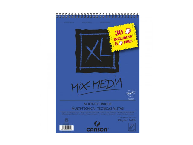 Album XL® spirale 30 feuilles + 5 offertes MIX MEDIA A4 300GR