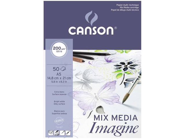 Bloc Imagine Mix Media 50 Feuilles A5 200Gr