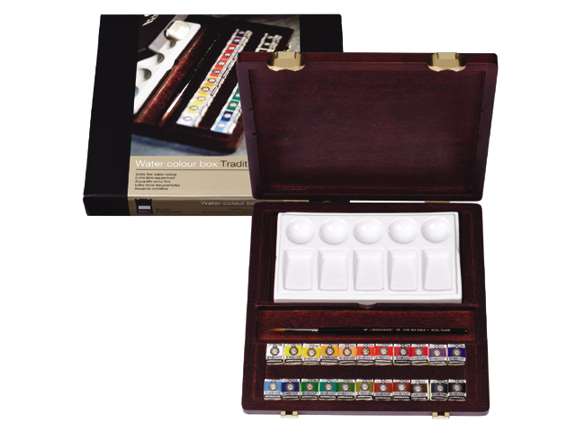Coffret TRADITIONNAL 22 demi godets + acc. Aquarelle Rembrandt